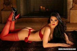 voluptuous brunette red lingerie