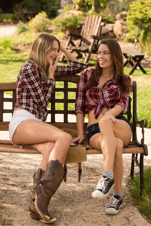 Young brunette lesbians are kissing thei - XXX Dessert - Picture 1
