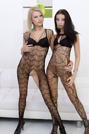 blonde and brunette catsuits