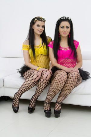 Brunette babes in mini skirts help each  - XXX Dessert - Picture 1