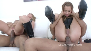 high-heeled babe two-sided dildo