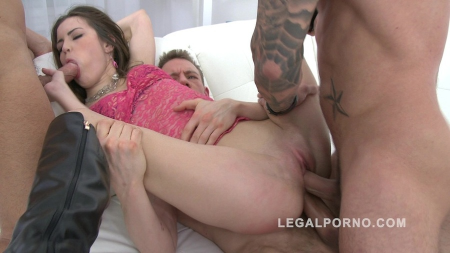 Black boots brunette annihilated during a gangbang. Cindy ...