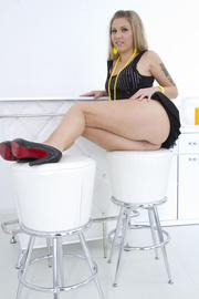 black dress blonde dildo-fucking