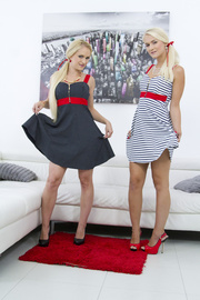 pigtailed blondes dresses sucking