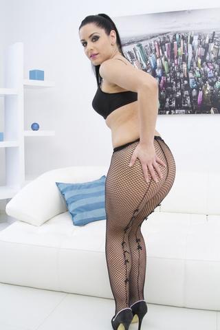 black fishnet thick brunette
