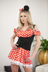 Hot blonde in mouse costume strips and stuffs herself with a dildo.