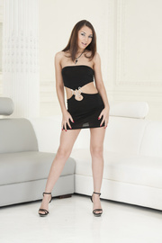 brunettes black dresses strip