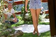 babe denim shorts gets