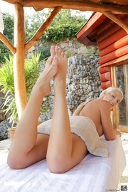 blonde gets massage and