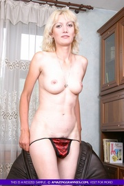 blonde granny takes off