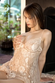 busty brunette lacy peignoir