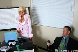 Seductive blonde wearing pink blouse, wh - XXX Dessert - Picture 6