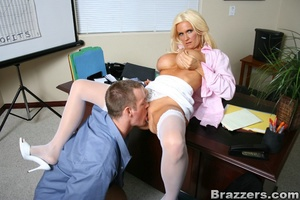 Seductive blonde wearing pink blouse, wh - XXX Dessert - Picture 9