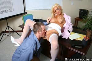 Seductive blonde wearing pink blouse, wh - XXX Dessert - Picture 10