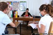 busty brunette teacher bright