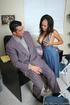 Ebony beauty wearing elegant blue dress and silver heels gets her pussy