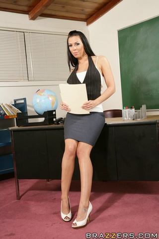 sexy black haired teacher