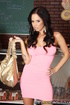 pretty brunette pink dress