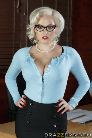 strict-looking blonde teacher nylons