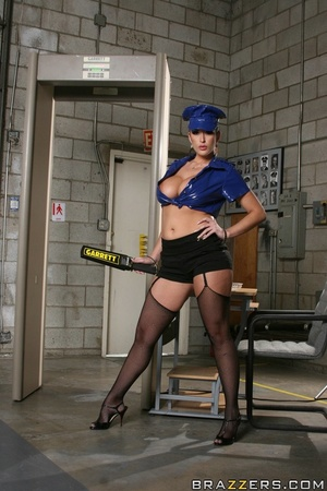 Latex-clad airport security fucked by a  - XXX Dessert - Picture 1