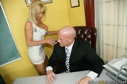 blue-eyed blonde milf with