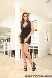 black dress brown-haired latina