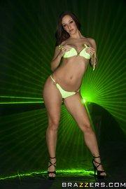 green bikini brunette oiled