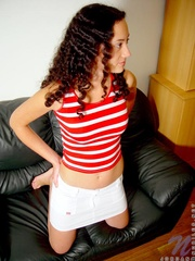 alluring brunette red striped