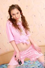 nice brunette wearing bubblegum