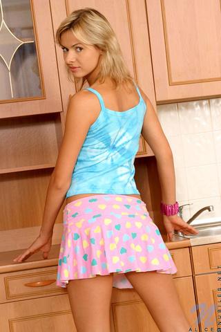 appealing blonde wearing pink