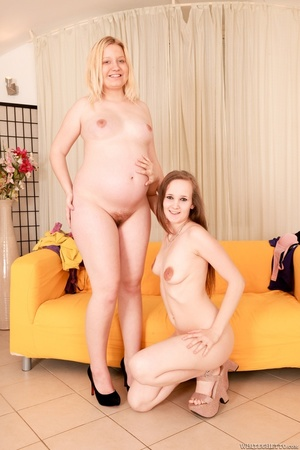 Skinny brunette and pregnant blonde with - XXX Dessert - Picture 2