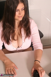 this brunette sits office
