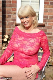 blonde granny pink lace