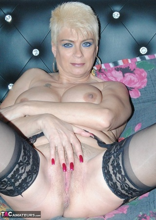 blonde black stockings lays