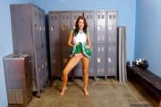 brunette green cheerleader uniform