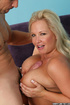 Blonde milf with enormous melons giving a head and trying breastjob before