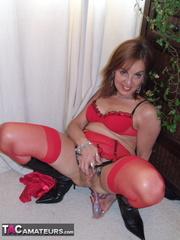 brunette bitch red lingerie