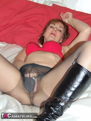 brunette milf with red