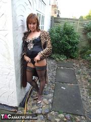 brunette milf leopard coat