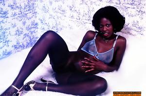 Alluring black gal in black mesh stockin - XXX Dessert - Picture 1