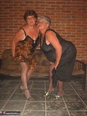 showy elderly blonde and