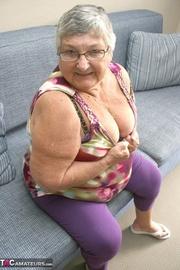 glamorous blonde granny purple