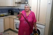 showy platinum blonde grandma