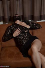 glamorous brunette black lace