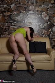 brunette milf yellow bra