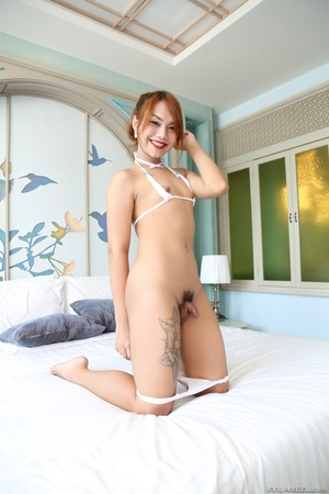 Asian babe in white strips and jerks her - XXX Dessert - Picture 9