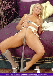 luscious granny teases with
