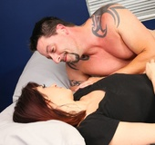 Cute brunette and tattooed guy eat pussy and suck cock then fuck on bed