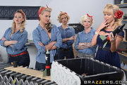 blonde pin-up-y factory workers