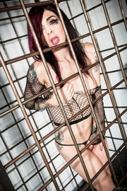 seductive caged tattooed brunette